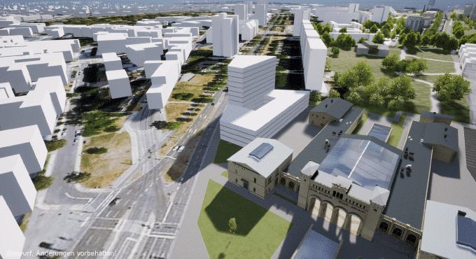 Visualisierung Portikus - Stadtraum Bayerischer Bahnhof