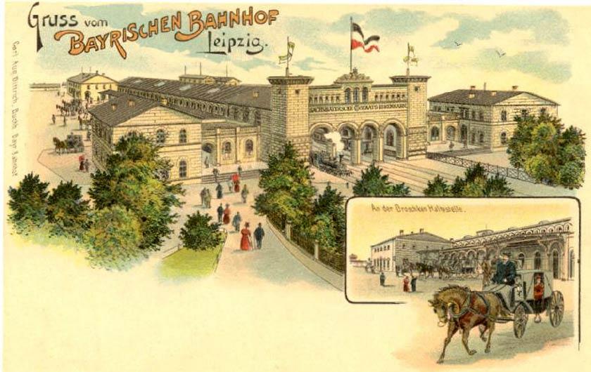 Historische Postkarte des Bayerischen Bahnhof Leipzig
